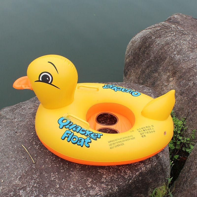 mufoys juguete inflable inflable con anillo de natación lúdica agua anillo barco con barco manija amarilla del pato de los niños