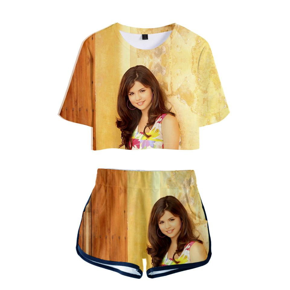 2020 Selena Gomez 3d Printed Women Two Piece Set Fashion Summer Short Sleeve Crop Top Shorts 2019 Hot Sale Casual Streetwear Clothes P7fo From Tangulasi 20 95 Dhgate Com