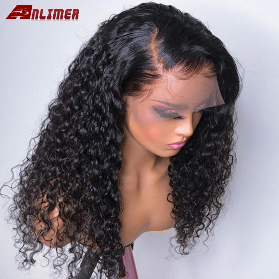 d f Right Side Part Curly Human Hair Wig Bleached Knots Brazilian Remy Hair Deep Part