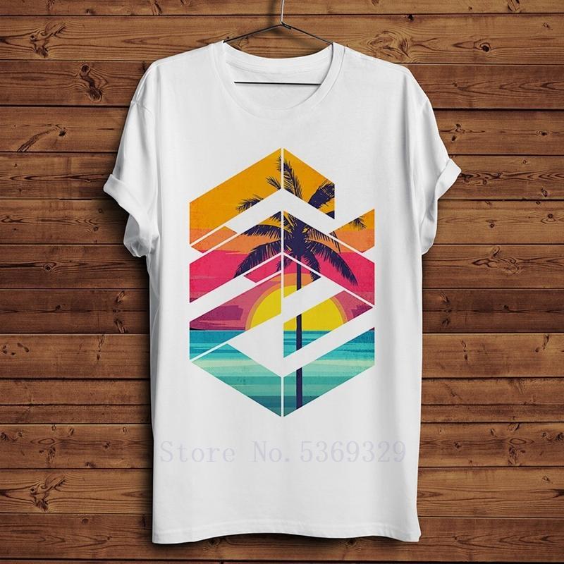 Geometrik Sunset Sunrise plaj Yaz Tişörtü erkekler 2019 komik yeni beyaz homme gündelik doğal tarzı Tişörtler Soğuk