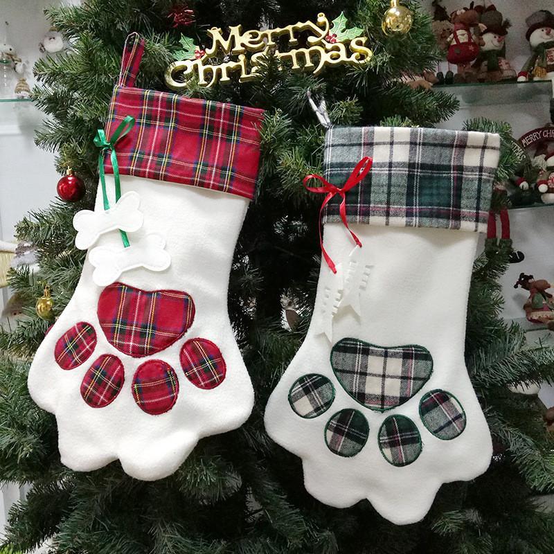 Saco da árvore de Decoração Dog meia do Natal da pata Desigenr Pendant Natal dos doces Natal dos ornamento do partido festiva Xmas dos doces saco de armazenamento