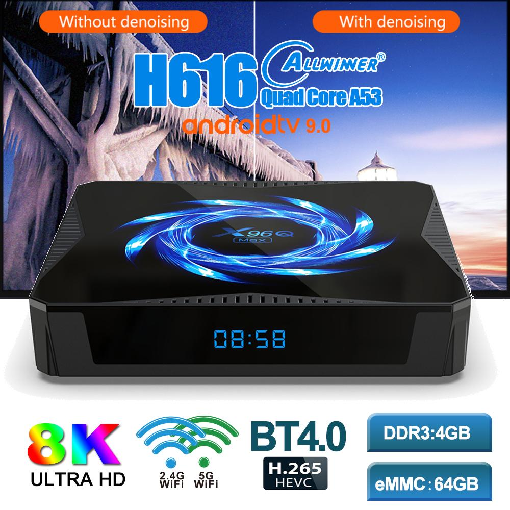 X96Q Max Caixa de TV Android 10.0 4GB 32GB 64GB 4K 60FPS 2.4G / 5G WiFi BT5.0 Media Player Set Top Box