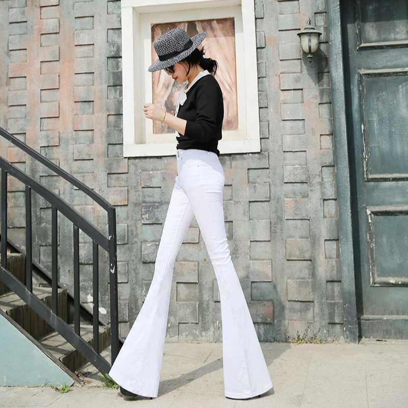 2020 primavera e in autunno moda casual marchio formato più della metà di vita delle donne femminili ragazze allungano le fiammate dei jeans dei vestiti 79443