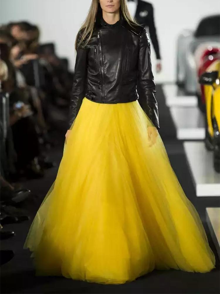 Été Automne extra longue maille dentelle vintage extension jupe femmes jaune Tulle taille élastique Beach Voyage balle Big Swing Jupes T200712