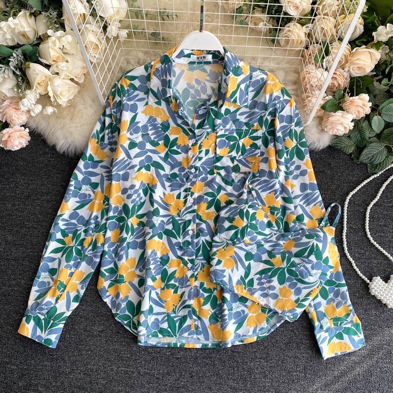 2020 Impressão Moda Outono Nova Retro lapela manga comprida de bolso solto e Plus-sized Magro Casual Camisa Blusa das mulheres cobre N387