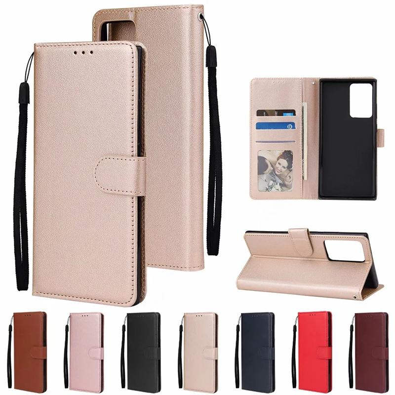 Leather Wallet Case For Samsung Note 20 Plus A21S A51 A71 A01 A81 A91 A70E A31 A11 Luxury Plain Frame 3Cards Slot Holder Flip Cover Lanyard