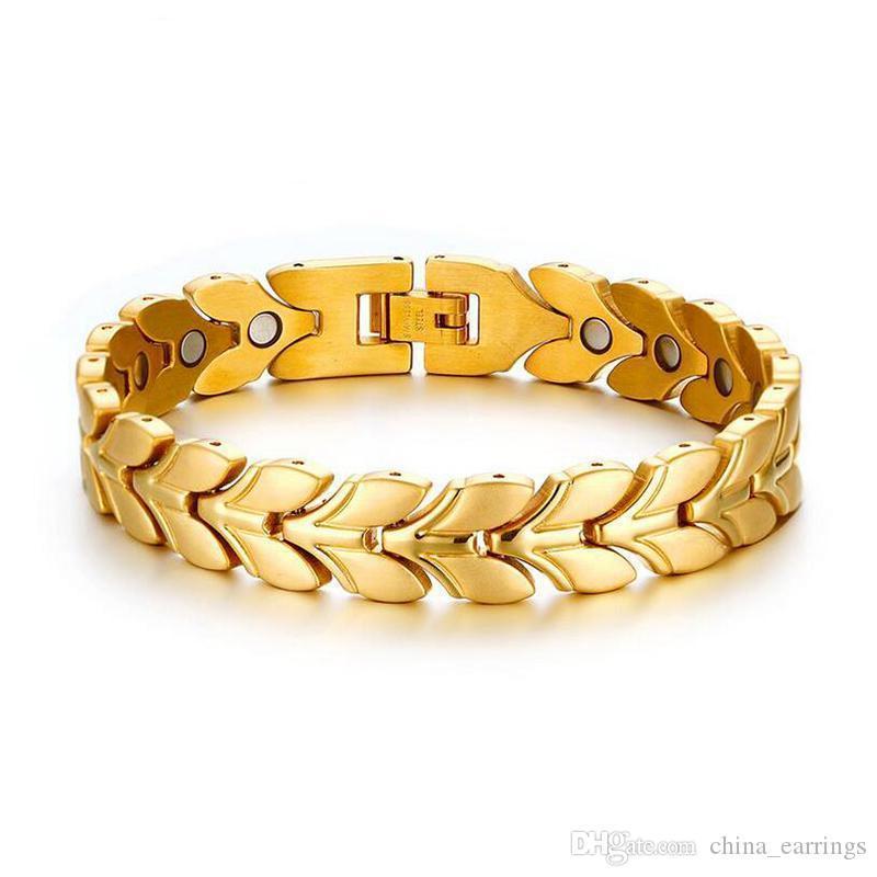 2017 Nouvelle santé Bracelet magnétique pour les femmes d'argent couleur d'or inoxydable grain en acier Charms Bracelet magnétique Bracelets alimentation santé