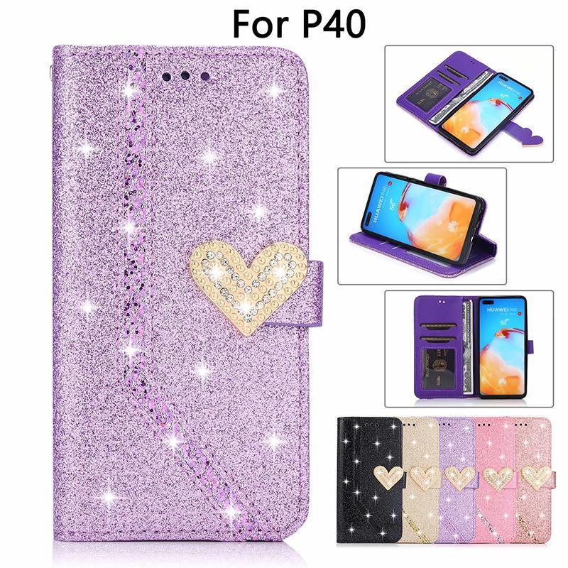Caso tirón de la carpeta cuero del diamante del brillo del amor del corazón para Samsung Galaxy A51 A71 A11 A21 A41 A70e P40 P40lite p40pro