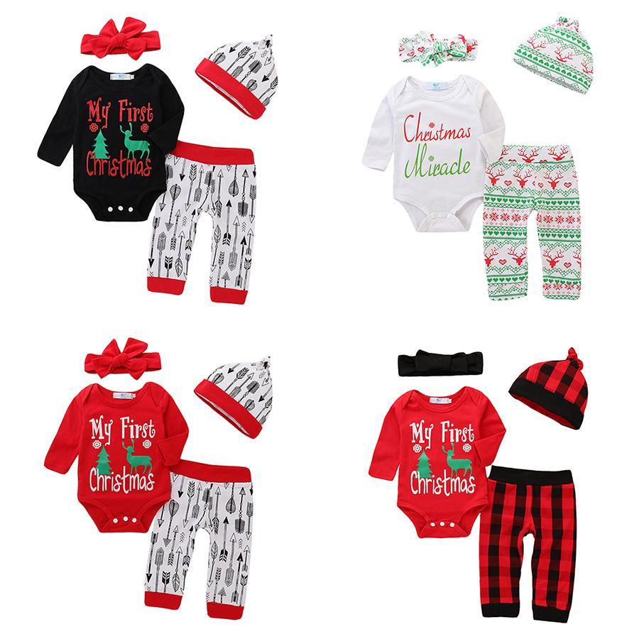 Детские комплекты одежды девочек мальчиков рождественские наряды младенческие олень печатающие вершины + стрелка брюки плед + шляпа + лук 4шт / набор весна осень детская рождество одежда