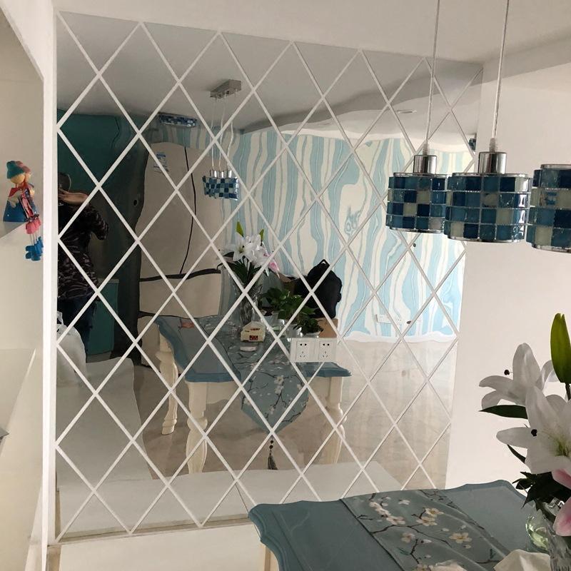 Sticker Diamond Shape Mirror, Wall Decor Mirror Stickers