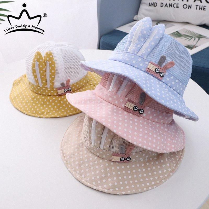 Las orejas del verano del bebé sombrero de la historieta del bebé del punto de la muchacha del sombrero del cubo de malla transpirable bebés y niños pequeños Sun Beach Cap O6wa #