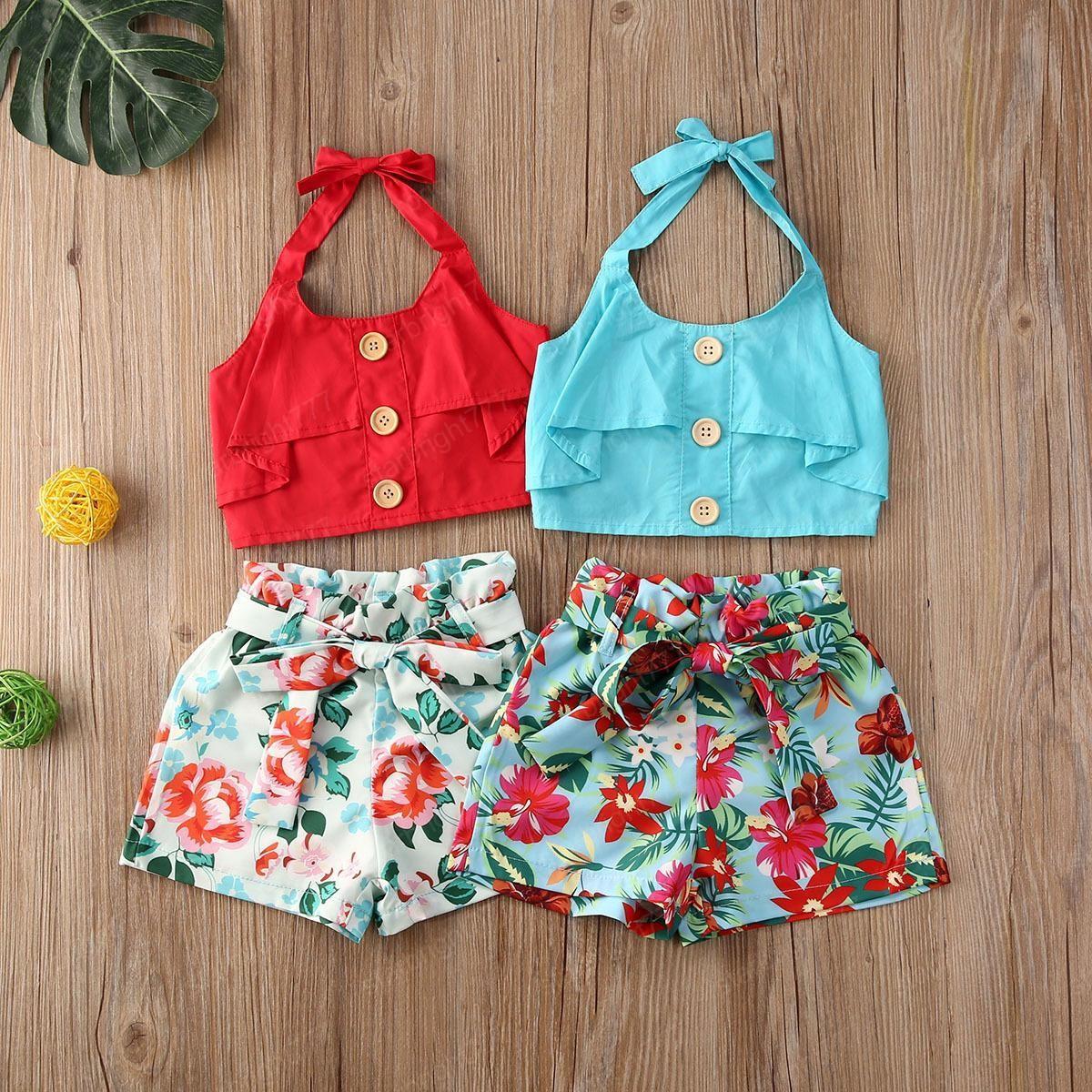 Детская одежда для девочек Наряды детей Слинг Вершин + Bow Цветочные шорты 2pcs / комплект летней моды Бутик Одежда для новорожденных наборы
