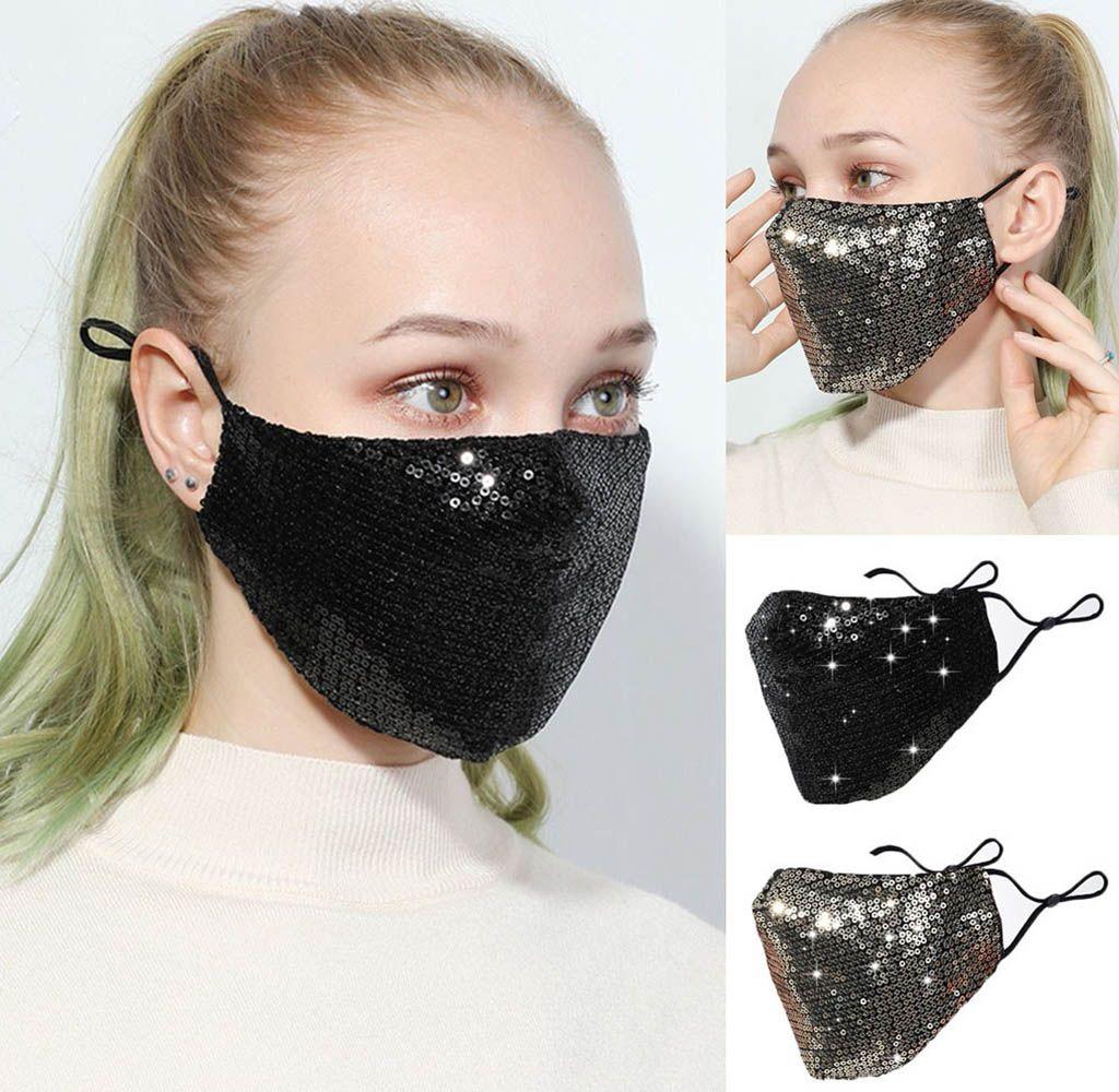 2020 الأزياء بلينغ 3d حزب أقنعة مكافحة الغبار PM2.5 reusable قابل للغسل الترتر لامعة القطن الوجه أقنعة الشمس لون الذهب الغلاف الفم للنساء الرجال