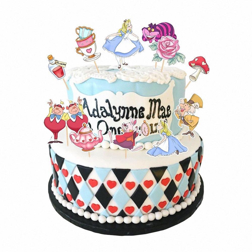 Alice no país das maravilhas partido Alice bolo Topper Cupcake menina Cake Decoration para o aniversário do partido descartáveis Suprimentos V8Eo #
