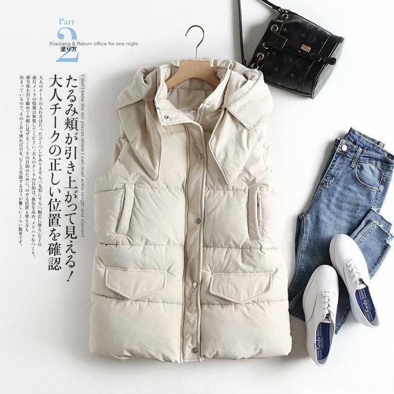 2019 estação nova flanging falso bolso de algodão com capuz Brasão D8002 revestimento das mulheres das mulheres colete colete colete