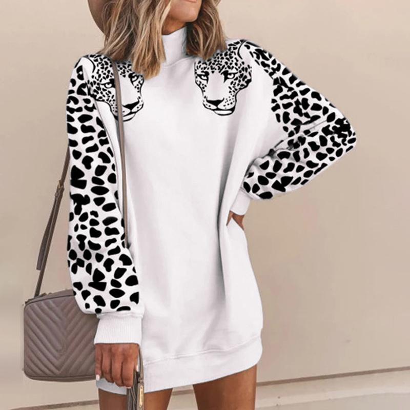 Women's Leopard Print Hoodies Hoody Long Sleeve Patchwork Sweatshirts Women Pullover Spring Autumn Streetwear Sweatshirt Female T200722