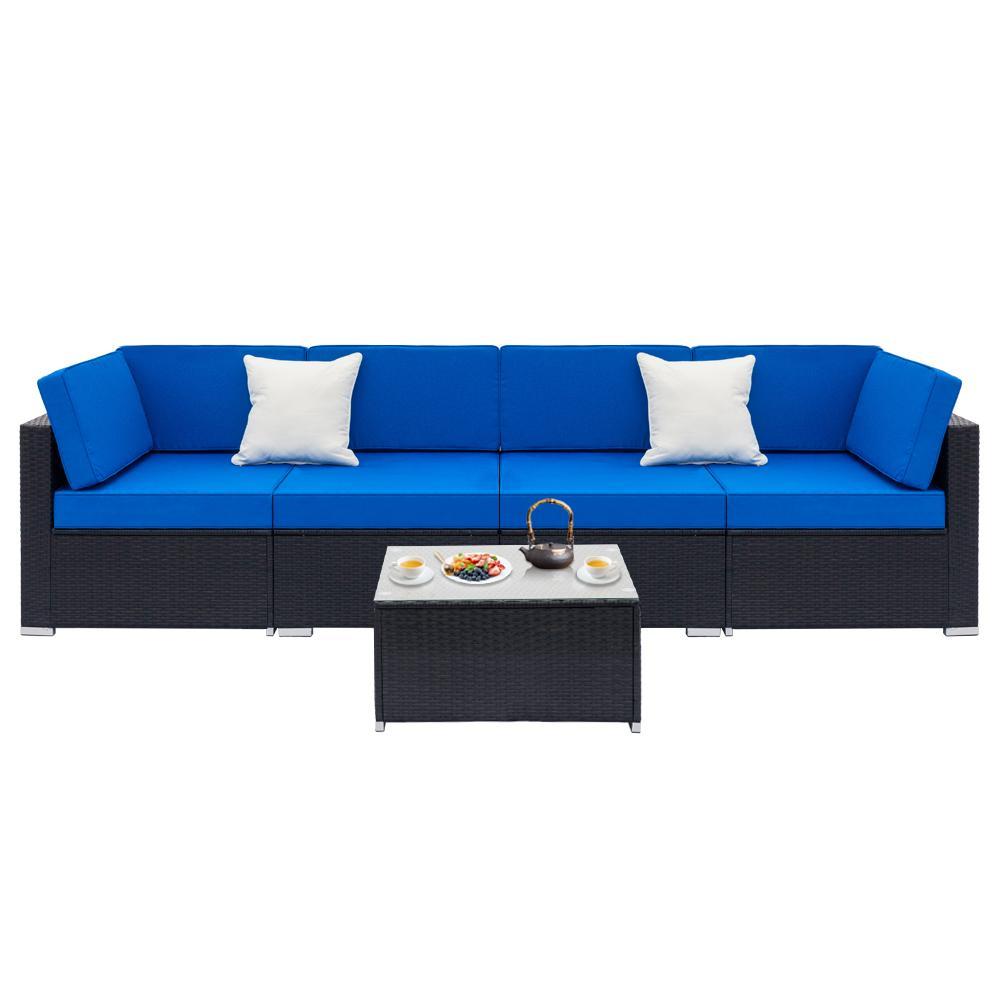 Удобное сращенное сращенное полностью оборудованное ткачество черного дивана ротанга с угловыми диванами 2 шт. Onle1 PCS журнальный столик