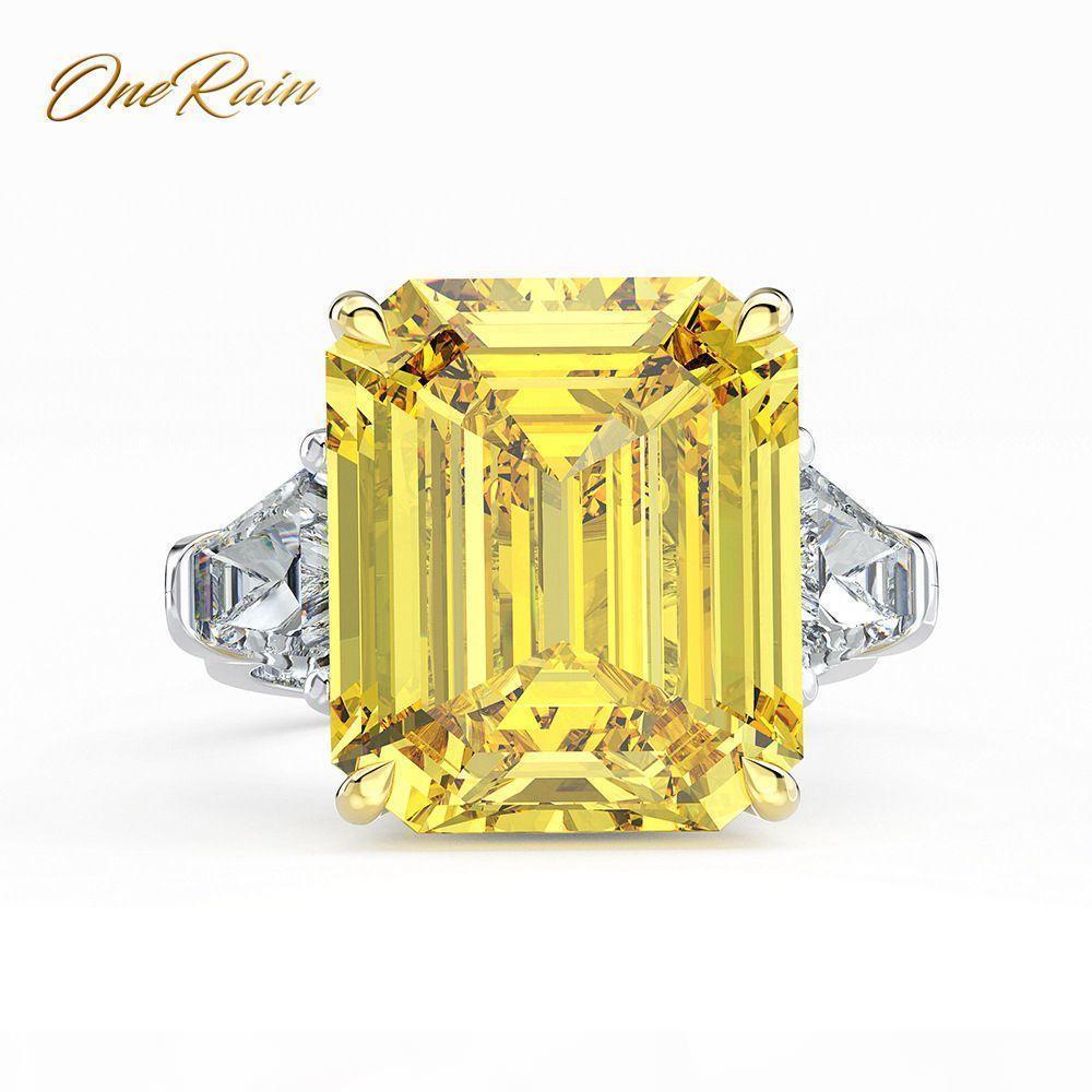 Onerain Classic 100% 925 Sterling 14 * 16 mm Moissanite aggancio di cerimonia nuziale del cocktail coppia Ring Jewelry Size 5-12 J 190430