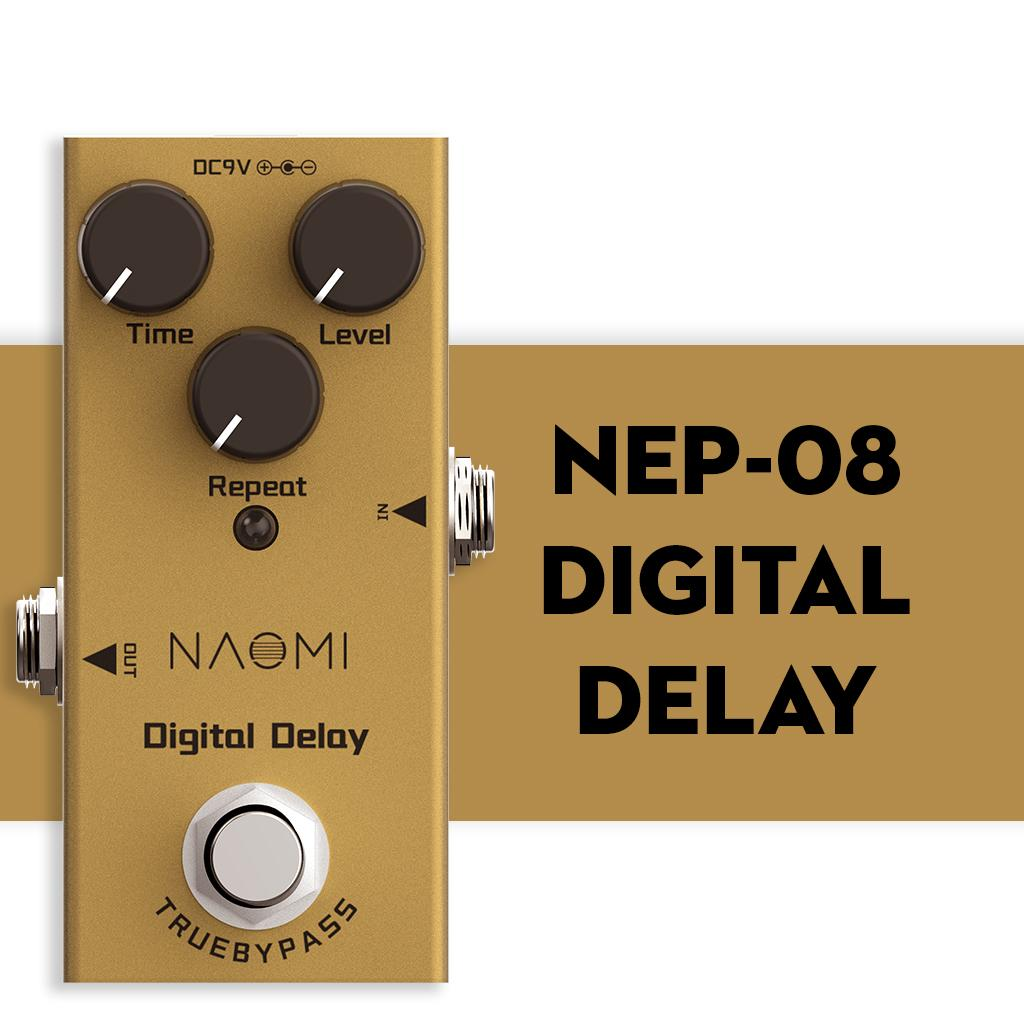 Педаль NAOMI Правда Обходной Design Digital Delay Электрический эффект гитары Педали Mini Single Delay Истинный Обход DC 9V
