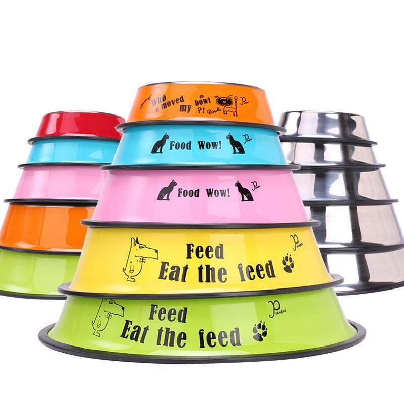 Şeker renkli karikatür Paslanmaz Çelik Köpek Çanaklar Pet Kedi Köpek Gıda Su Besleme Bowl evcil köpek aksesuarları Bırak Gemi 360021