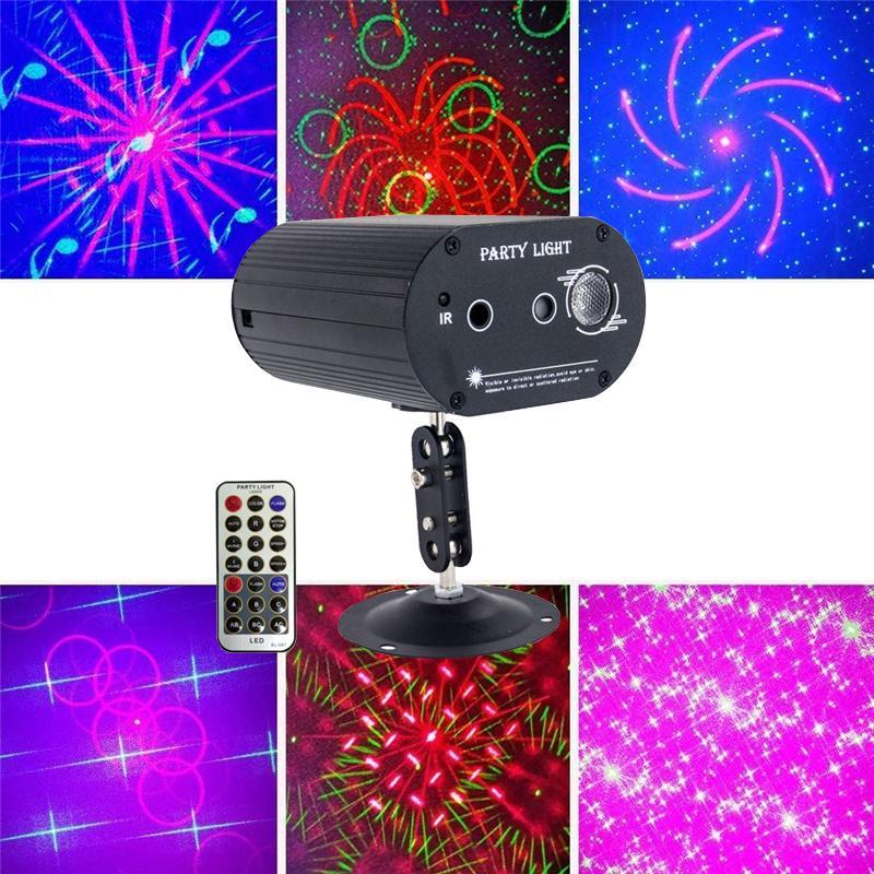 LED 사운드 활성화 7 색 디스코 빛 스트로브 RGB 볼 효과 프로젝터 조명 바 클럽 파티 DJ 레이저 조명 재고 있음
