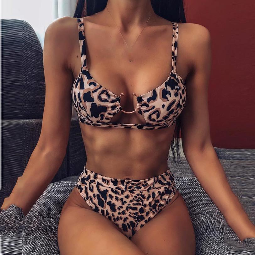 Kadınlar Bikini Seti Leopar Baskılı Metal Halka İki Piece Mayo Hight Bel Mayo Yaz Seksi Mayo Beachwear biquini
