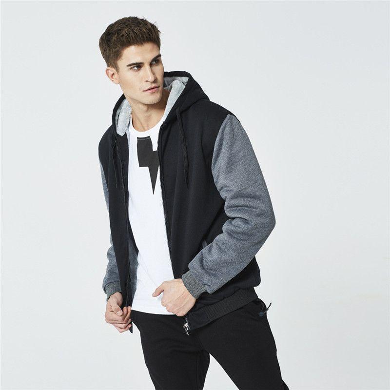Cepler Kontrast Renk Erkek Giyim ile Mens Tasarımcısı Fleece Patchwork Kapüşonlular Uzun Kollu Moda İnce Kapşonlu Tişörtü