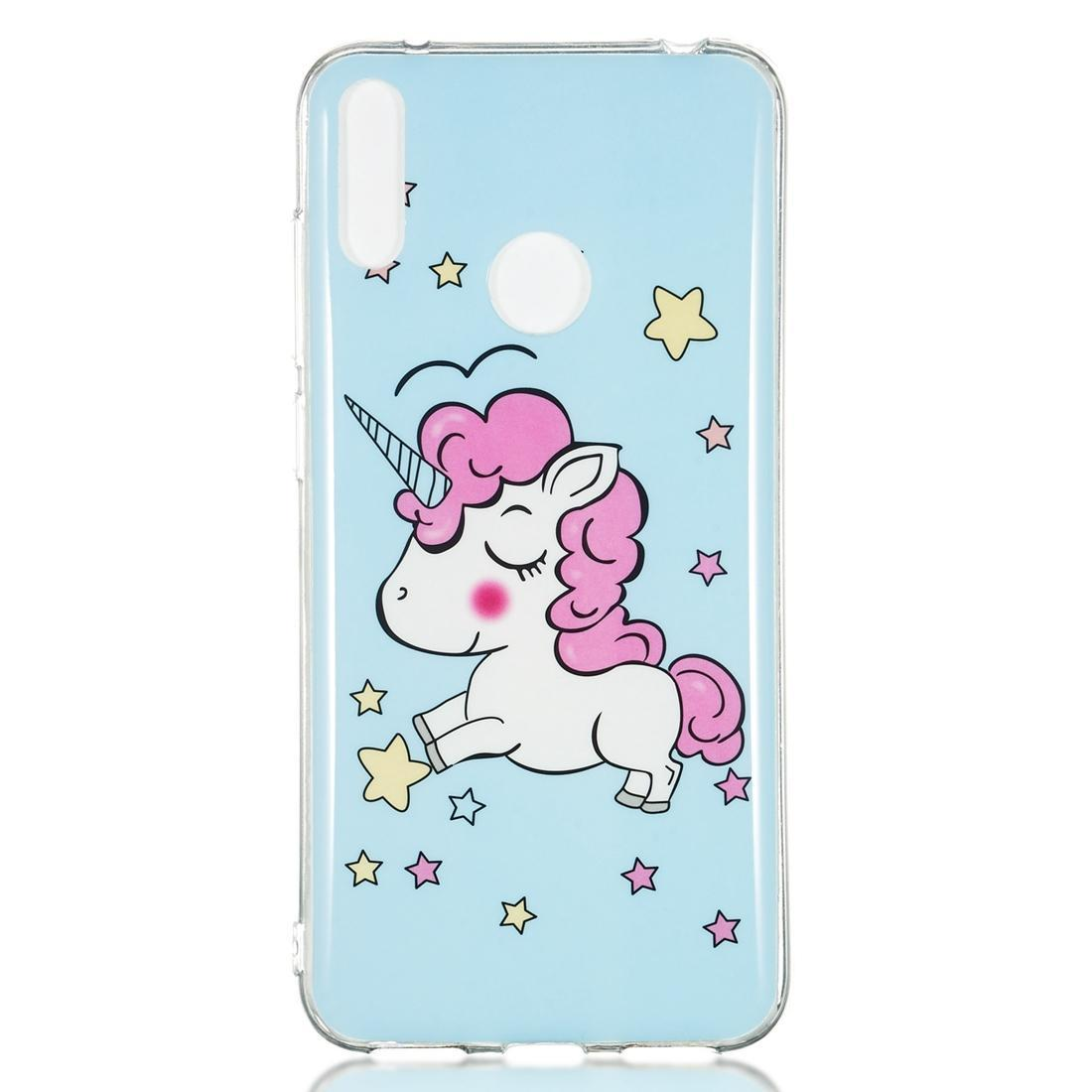 Huawei y7 Pro Star Unicorn Desen Noctilucent TPU Yumuşak Kılıf