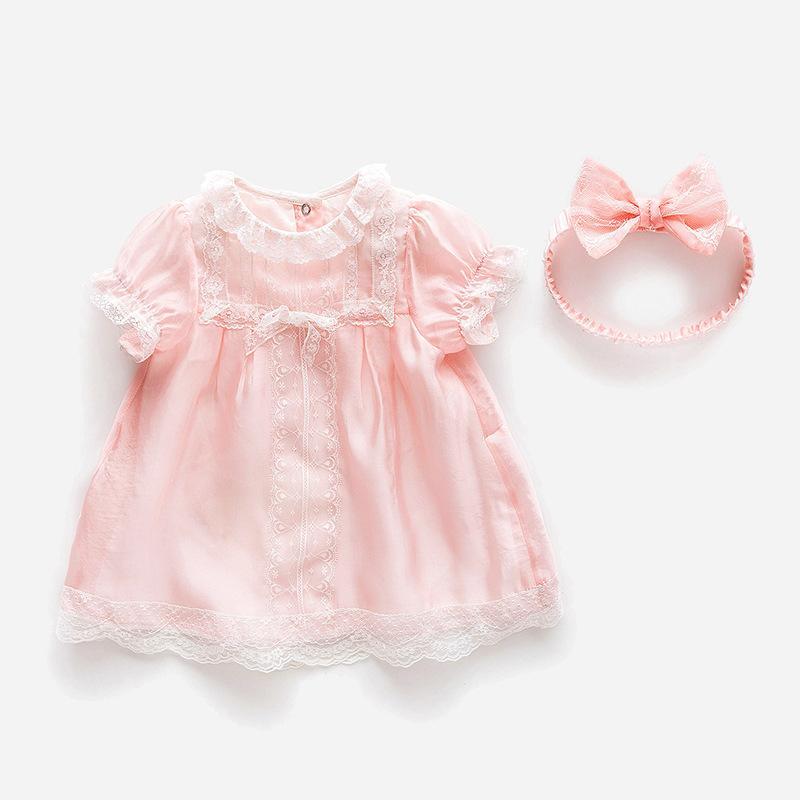 Dans lingdie Yaz 2020 yeni bebek prenses dantel saç bandı kız elbisesi