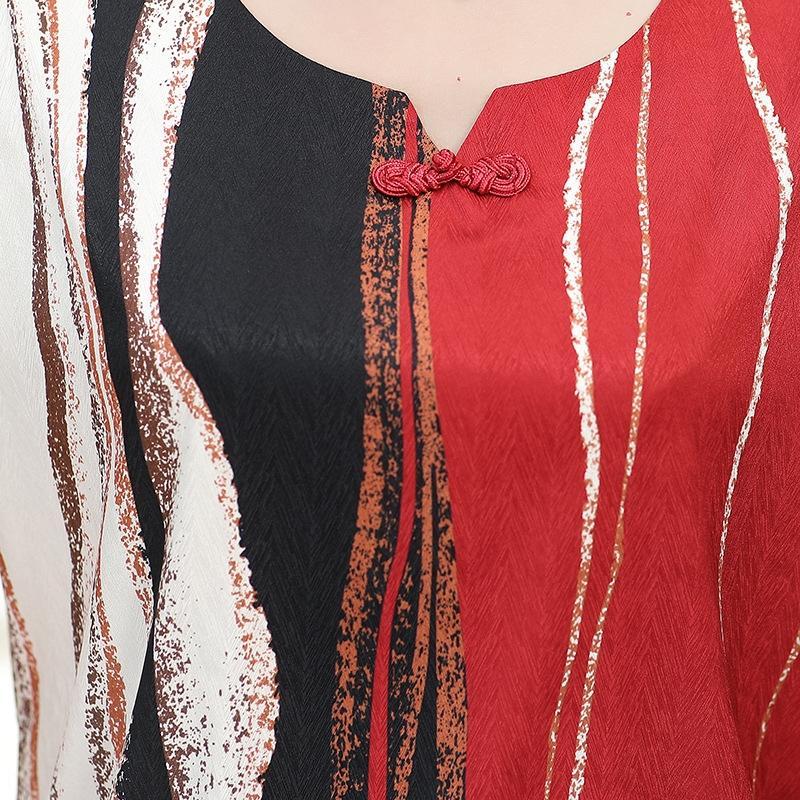 wQ1i9 Orta yaşlı Üst gömlek yaşlı Xia'nın zhuang iki parçalı dış lezzet üst ma ma kuan Noble gömlek nv seti kuotaitai L