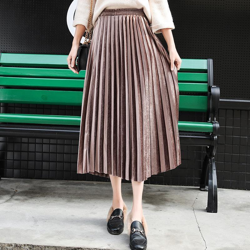 벨벳 주름 치마 여성의 가을 겨울 빈티지 블랙 스커트 여자 Faldas Mujer 모다 2019 롱 맥시 높은 허리 파티 스커트