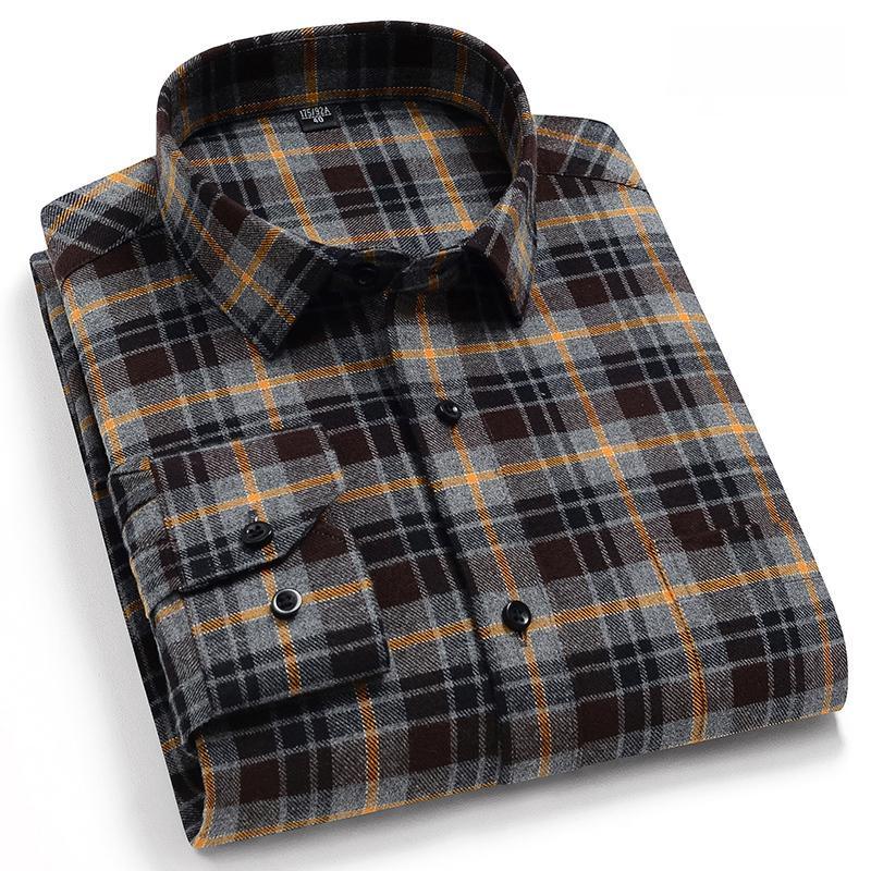 Reine Baumwolle der klassischen Männer Plaid beiläufige warme Hemden volle Hülse gebürstet bequeme Gewebe weich regular fit männlich Shirts T200801