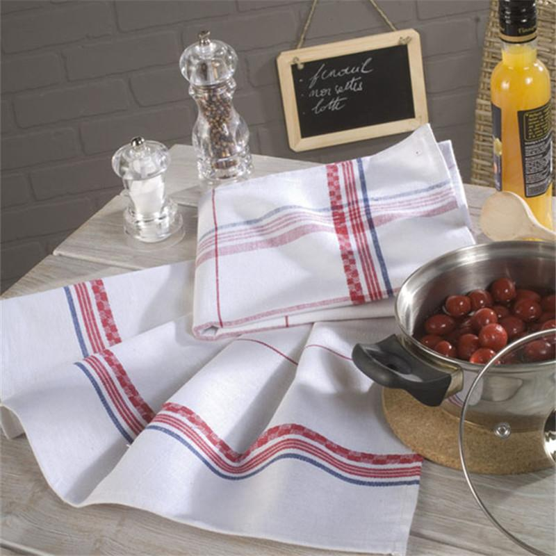 Erhöhen Sie die Eindickung Baumwolle Leinen Serviette Tuch Mehrstöckige Schicht 50 * 70 Quadrat Tischservietten mit feinen Streifen Coarse Streifen Plaid