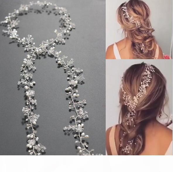 Charme extra longas Pearls Wedding Headband nupcial - nupcial pedaço de cabelo, casamento cabelo Pérola Vine Acessórios para Cabelo nupcial