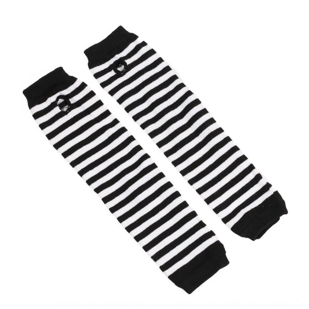 Guantes de algodón de estilo coreano y cubierta del brazo negro largo clásico blanco a rayas de los dedos de la muñeca abierta larga y guantes cubren VBxhd