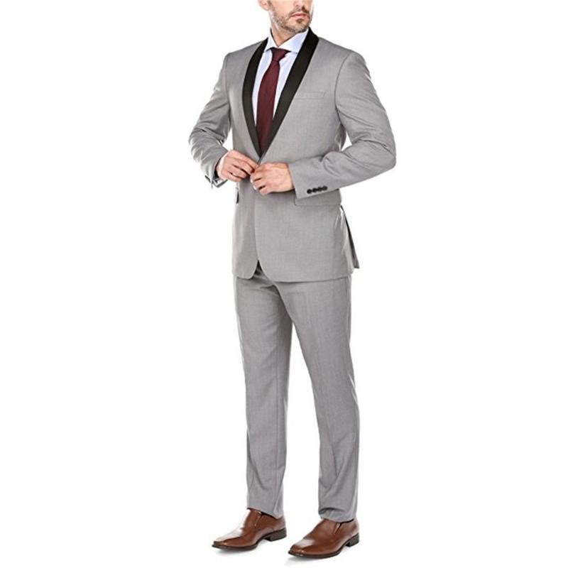 Homens ternos feitos sob encomenda xaile lapela melhor homem Noivo cinzento do smoking de casamento / baile 2 Pieces (jaqueta + calça + gravata) E275