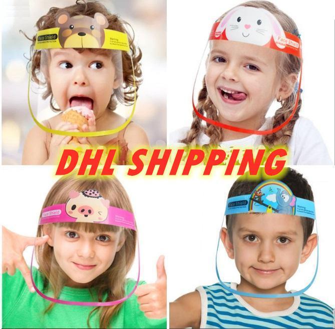 Aislamiento DHL 3-5 días niños de dibujos animados careta anti-vaho de protección de los niños máscara transparente PET Splash Las gotitas Cubierta de la cabeza fy8096