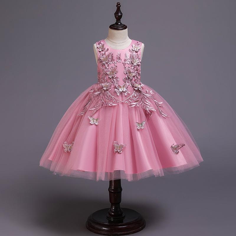 BacklakeGirls 2020 nouvelles robes fille fleur pour le mariage papillon Princesse Tutu dentelle Appliqued Vintage fille robe de première communion