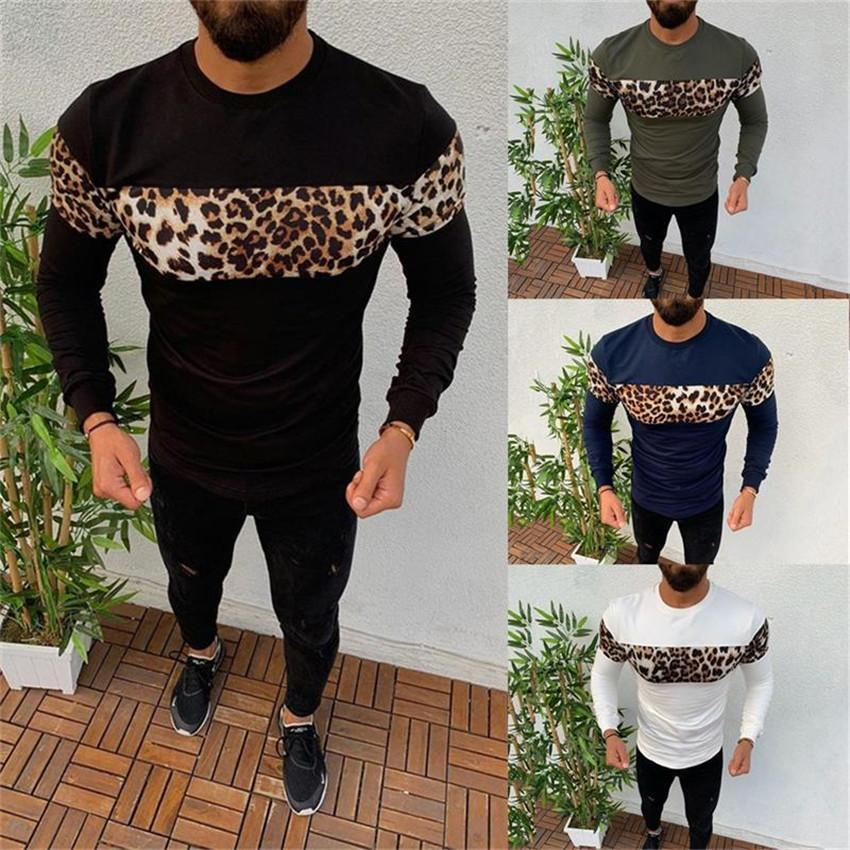 Tasarımcı Erkek tişörtleri Leopar Uzun Kollu O-boyun Adam İlkbahar Sonbahar İnce Nefes Patchwork Renk Erkekler Tees Tops