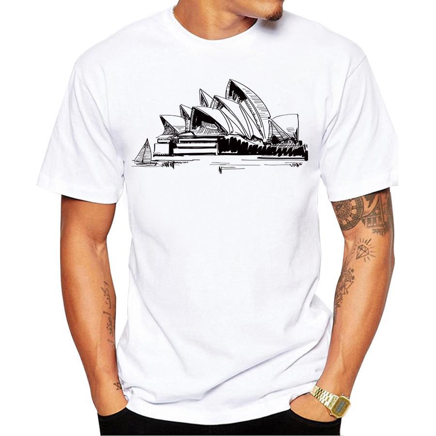 peinte à la main Sydney Opera T-shirt imprimé T-shirt de mode d'été imprimons Casual Male Basic T-shirts