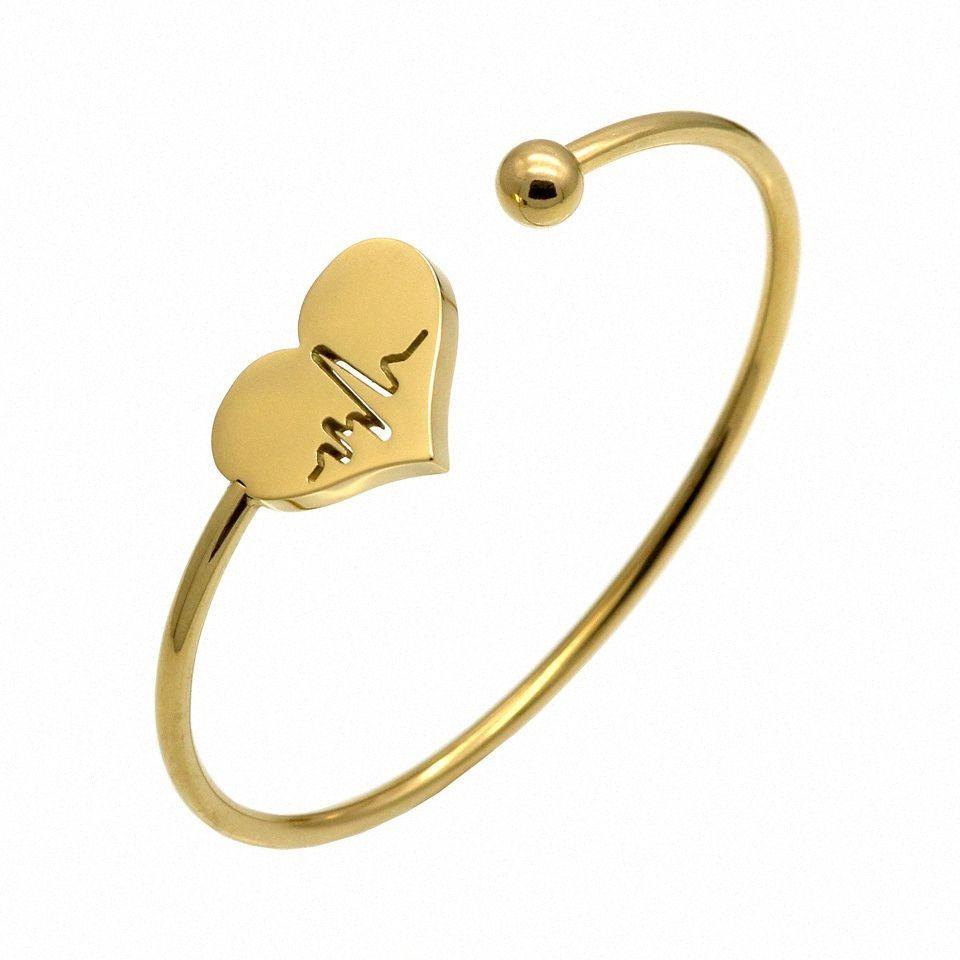Abierto de la manera brazalete pulsera para las mujeres para mujer Rose brazalete del acero inoxidable del oro joyería G8qZ #