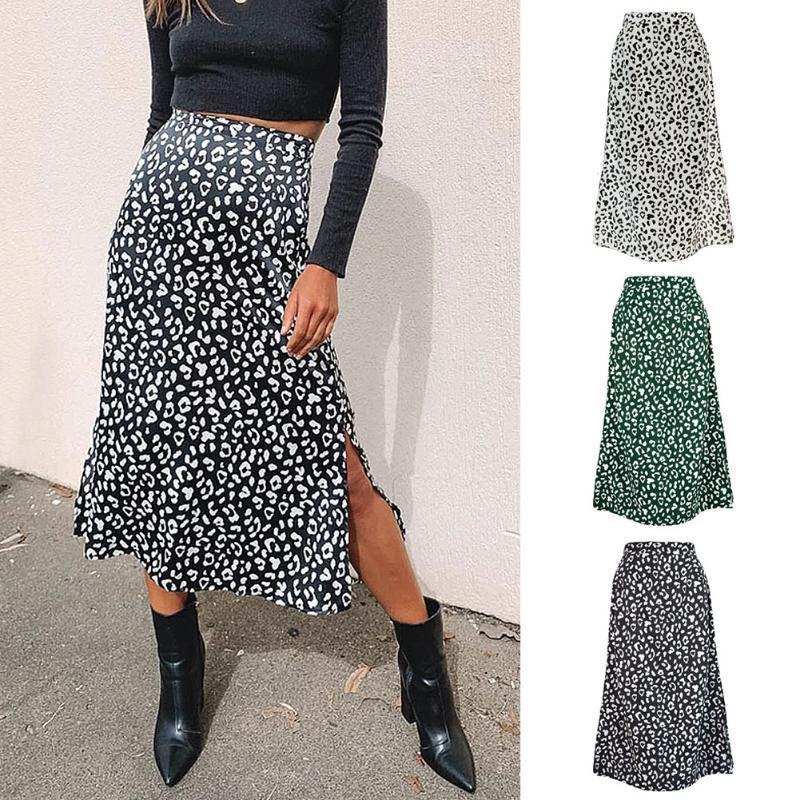 2020 neue reizvolle Leopard-Druck Chiffon Split Rock beiläufige Art und Weise Lange Röcke für Frauen Frühlings-Sommer-Zip elegante weibliche Röcke
