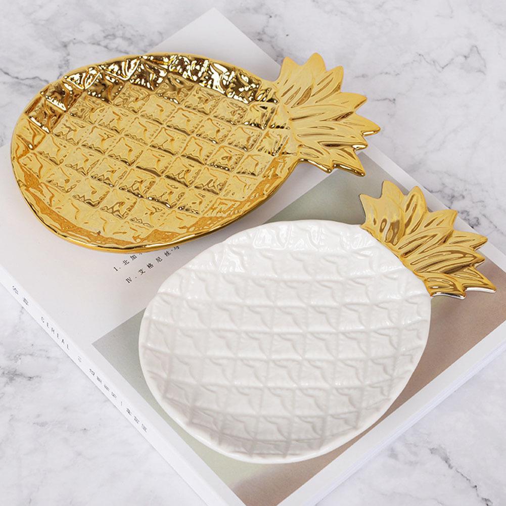 Ananas Forme Plateau de rangement plaque en céramique décoration pour la maison de fruits Bijoux Alimentation E2S T200617