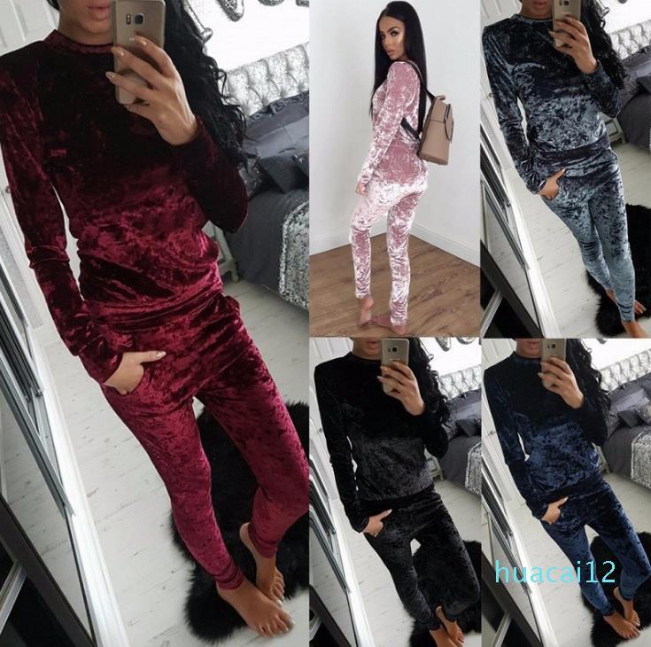أزياء تناسب-HOT المرأة الخريف أزياء الشتاء 2 قطعة بذلات مجموعة رياضية للنساء بانت وسابغة مطبوعة ملابس نسائية S-XXXL