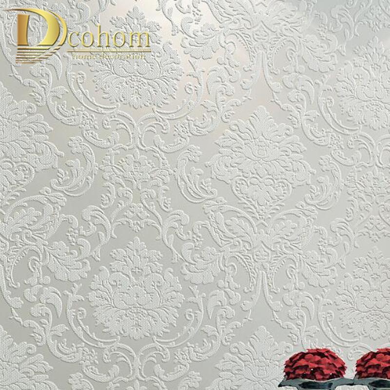 핑크, 베이지 크림 흰색 빅토리아 클래식 유럽 꽃 다마 벽지 스테레오 비닐 벽 종이 롤 홈 인테리어 거실 T200703을 3D