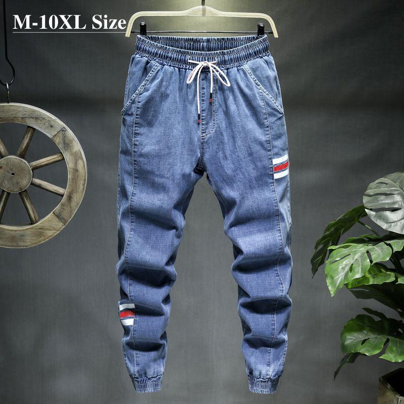 Plus Size 7XL 8XL 9XL 10XL dei jeans degli uomini Fashion Casual Jogger Harem pantaloni del denim 3 colori Hip Hop Splice maschio sottile dei pantaloni