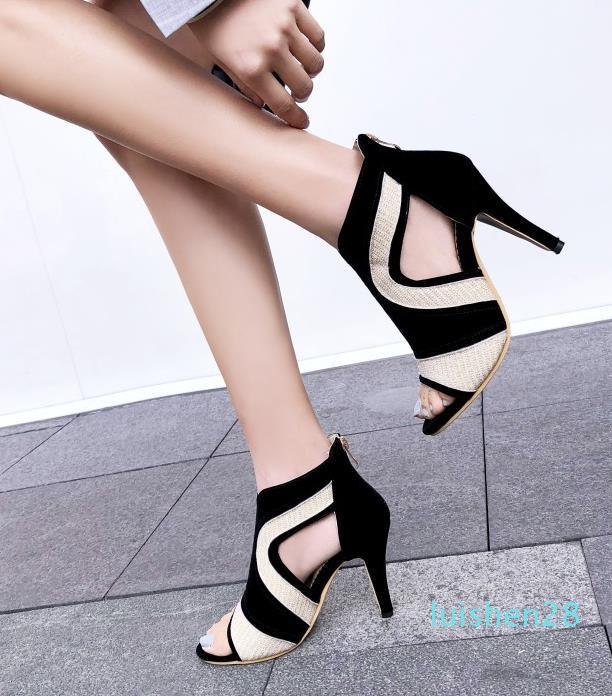Big small size 31 32 33 to 40 41 42 43 44 white black peep toe shoes luxury heels women designer heels fashion hollow out shoes l28