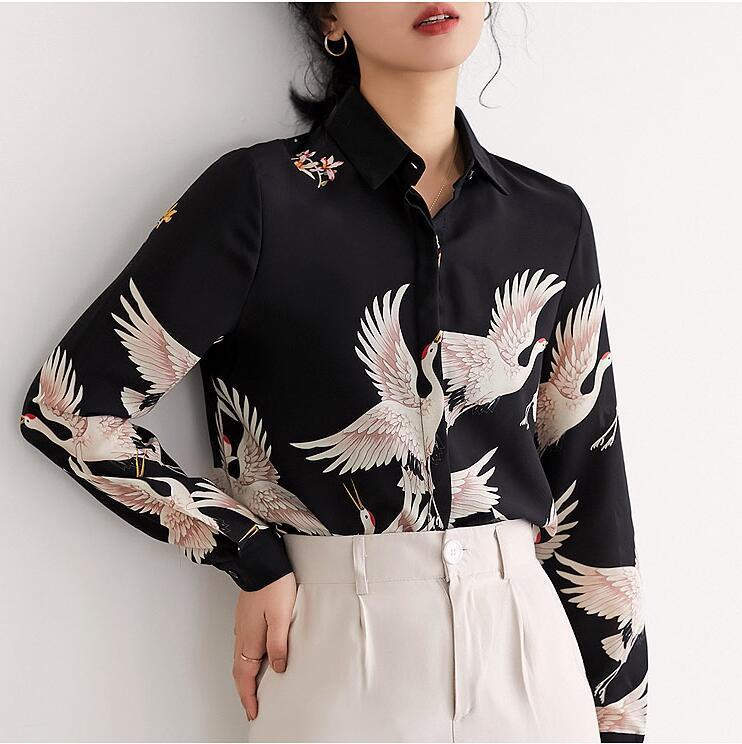 2020 Impresión elegante de la grúa de la vendimia Verano Negro Impreso Moda Ropa Blusas camisas de manga larga de gasa suelta Femme