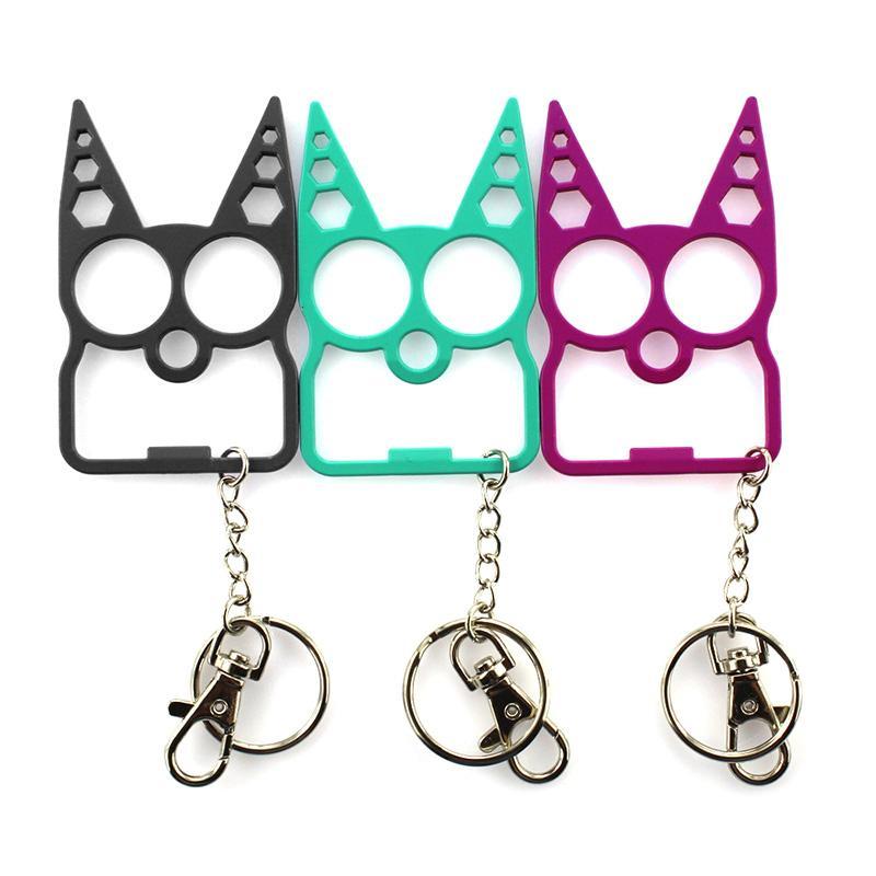 Tragbare nette Katze-Öffner-Schraubenzieher Keychain Multifunktions-Outdoor Selbstverteidigung liefert Zink-Legierung Flaschenöffner Küche Gadget