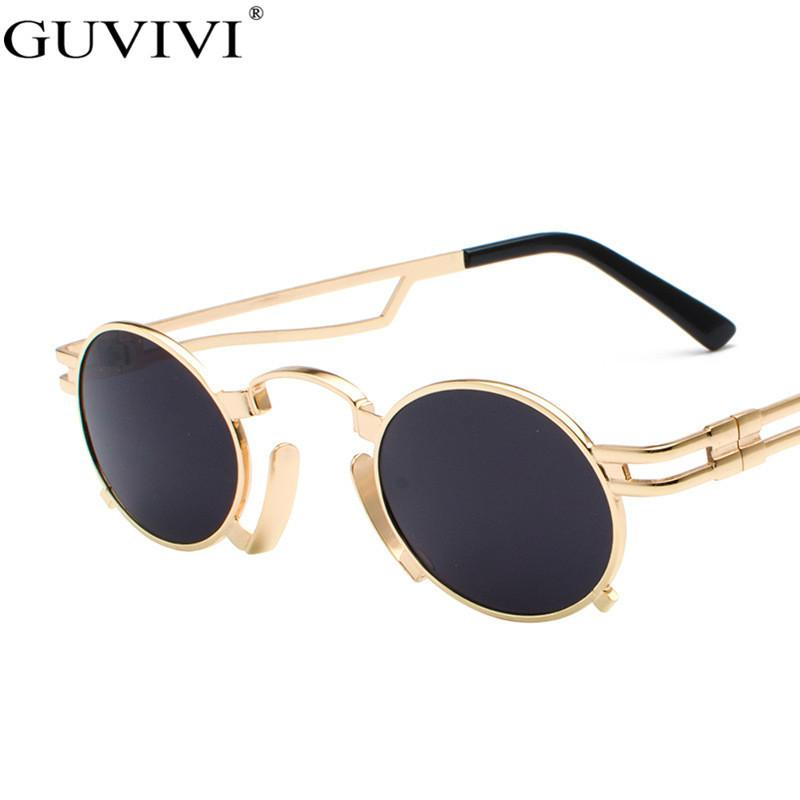 Круглый Steampunk Солнцезащитные очки Женщины 2020 Small Frames Punk Солнцезащитные очки Мужчины Ретро очки Vintage солнцезащитные очки Марка Дизайнер UV400